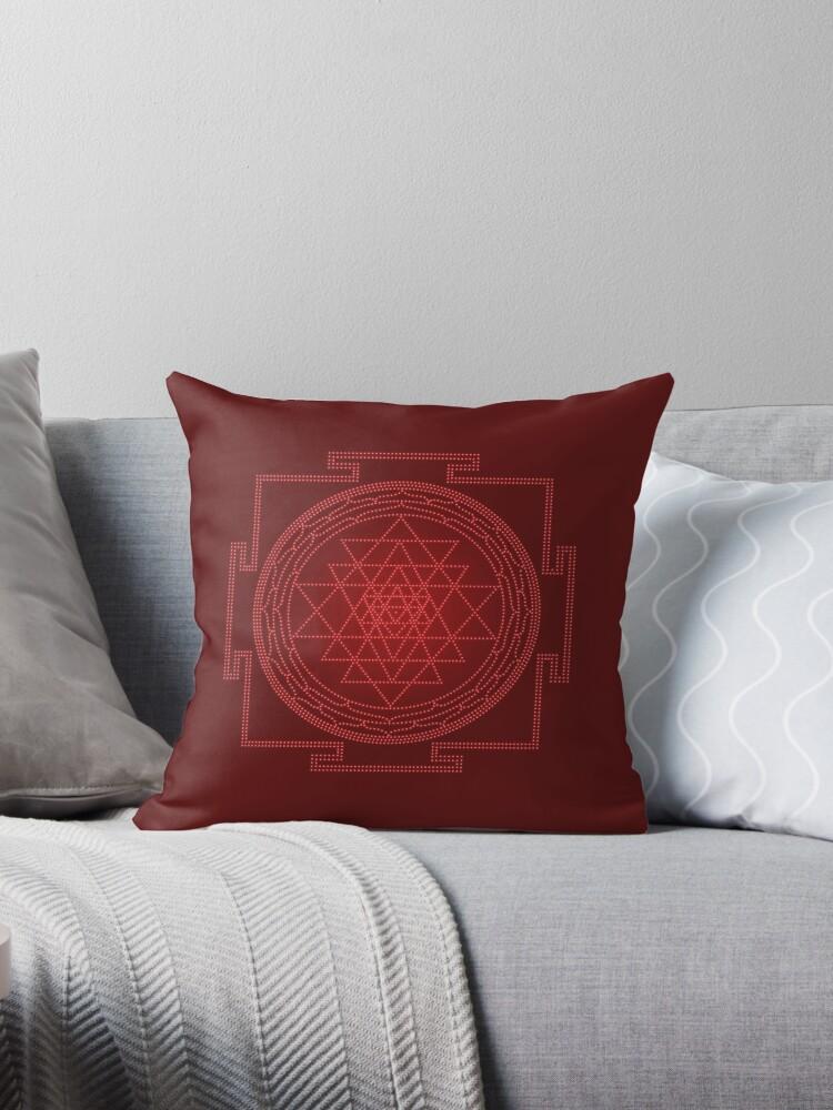 Glowing Sri Chakra Pillow - Red  by Kim  Lynch