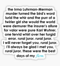 Rural Juror Lyrics Sticker