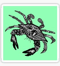 Blue Crab on Green Sticker