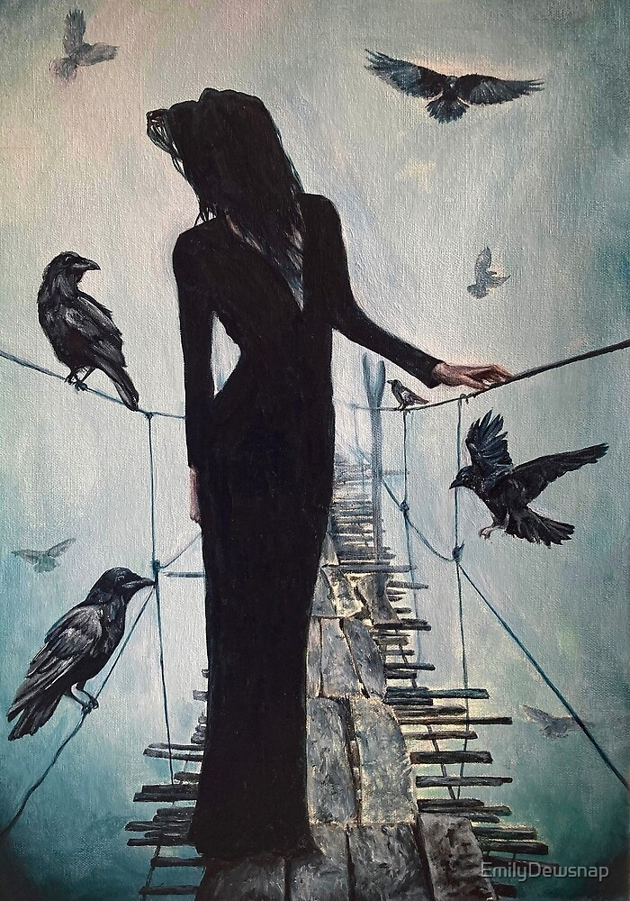 Raven Crossing - Painting of a Woman in Black Standing on an Old Bridge Surrounded by Ravens by EmilyDewsnap