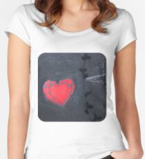 Red Heart on Black  Women's Fitted Scoop T-Shirt