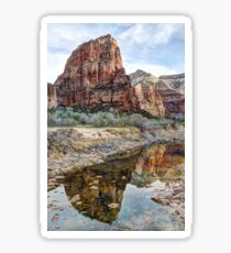 Angels Landing Reflected in Virgin River - Zion National Park Sticker