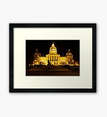 Iowa State Capitol Building Front (Night) Framed Print