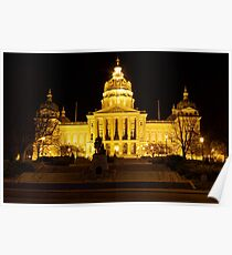 Iowa State Capitol Building Front (Night) Poster
