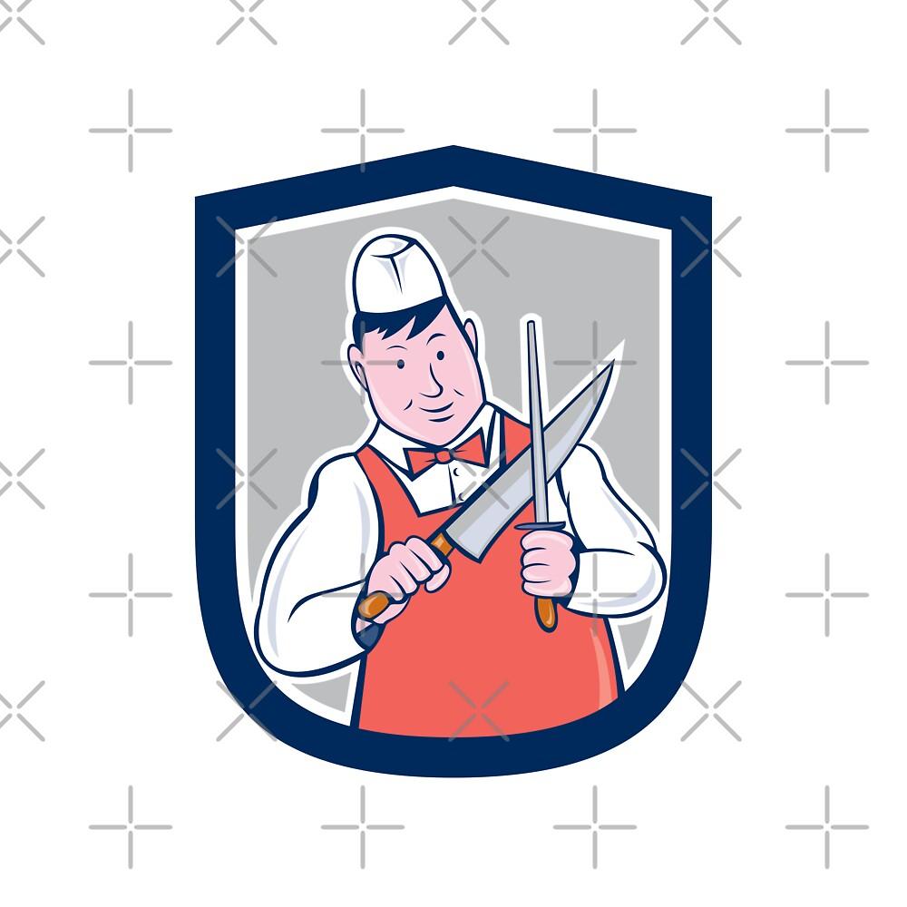 Butcher Sharpening Knife Cartoon by patrimonio