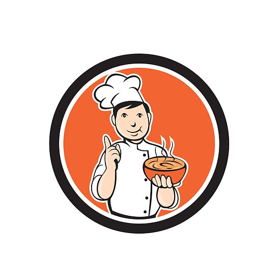 Chef Cook Carrying Bowl Circle Cartoon by patrimonio