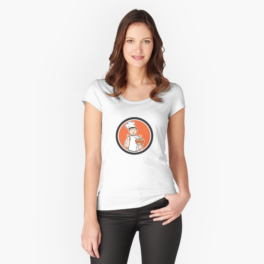 Chef Cook Carrying Bowl Circle Cartoon Women's Fitted Scoop T-Shirt Front
