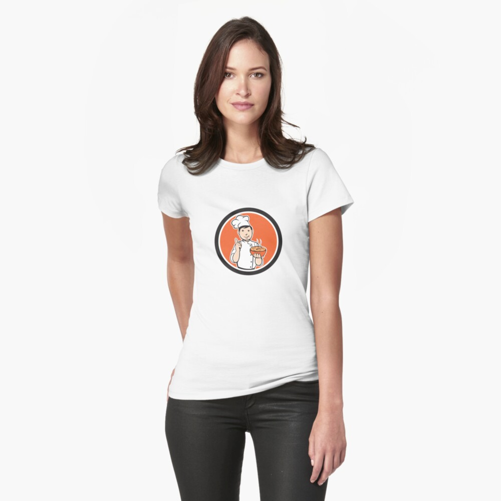 Chef Cook Carrying Bowl Circle Cartoon Womens T-Shirt Front