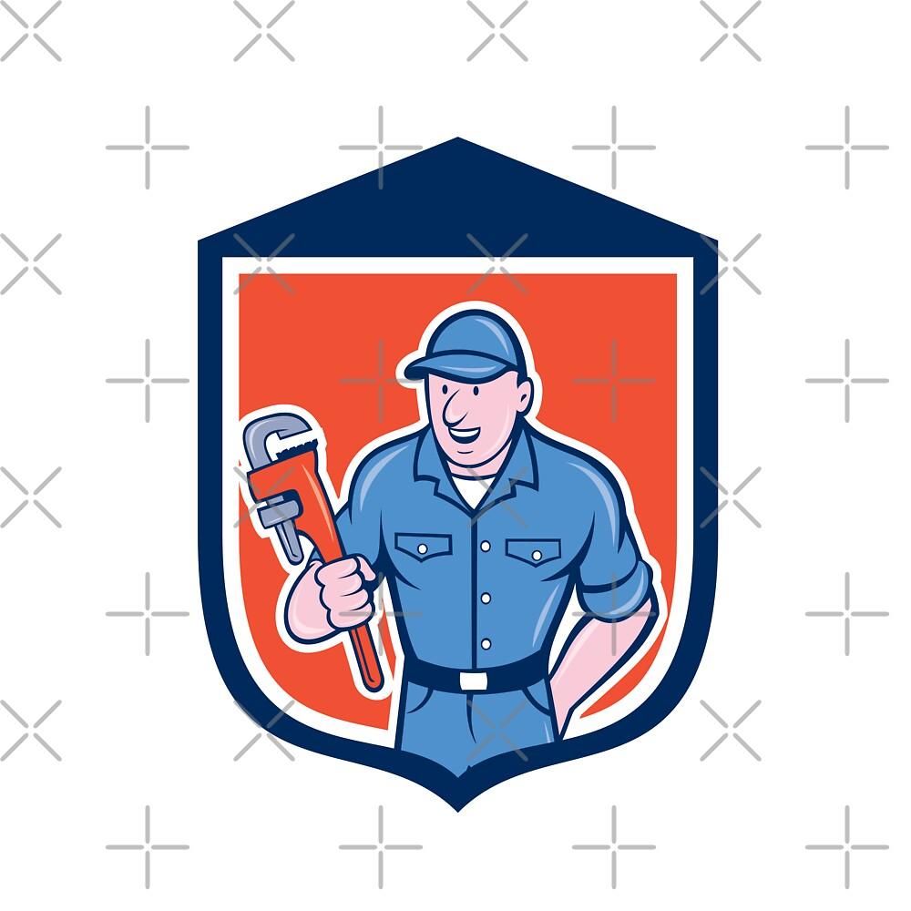 Plumber Holding Monkey Wrench Shield Cartoon by patrimonio