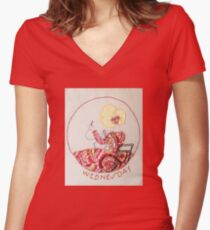 Wednesday Sewing and Mending Bonnet Lady Women's Fitted V-Neck T-Shirt