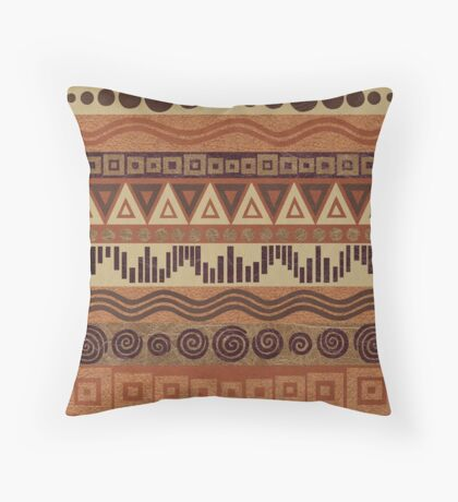 Boho Chic Tribal Leather Look Pattern Browns And Tans Throw Pillow
