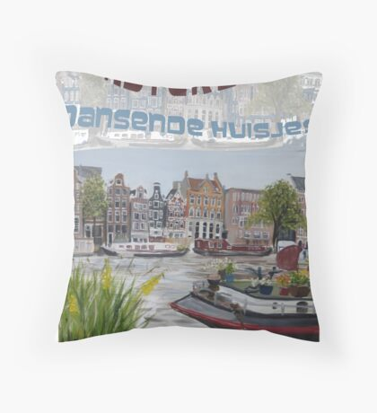 Amsterdam - de dansende huisjes Throw Pillow