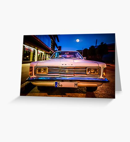 Old Ford Taunus under the moon Greeting Card