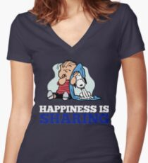 Snoopy and Charlie Brown Quote Women's Fitted V-Neck T-Shirt