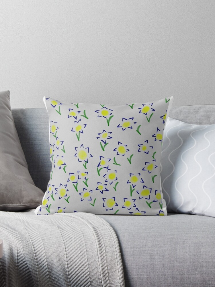 Floral Flowers blue pillow by Neve12