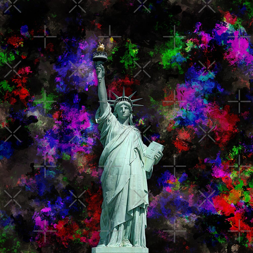 Mixed Media Statue of Liberty by morningdance