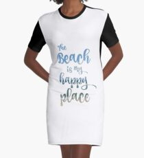 Beach Happy Place Typography Graphic T-Shirt Dress