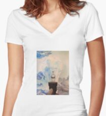 watercolor/ink light bulb Women's Fitted V-Neck T-Shirt