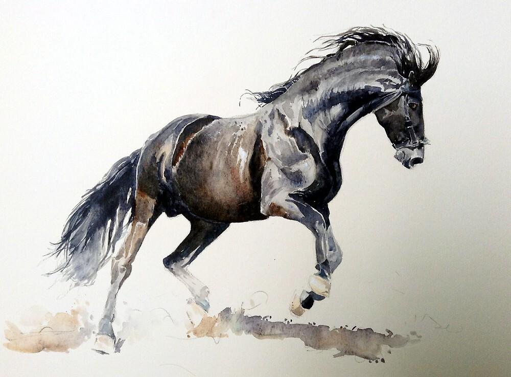 Horse In Watercolor Portrait   by Oldetimemercan