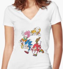 Classic Sonic Team Women's Fitted V-Neck T-Shirt