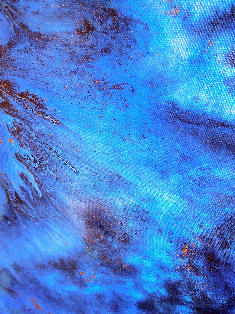 Blue Abstract Fluid Acrylic Water Painting AZURE by Artist Holly Anderson by hollyanderson