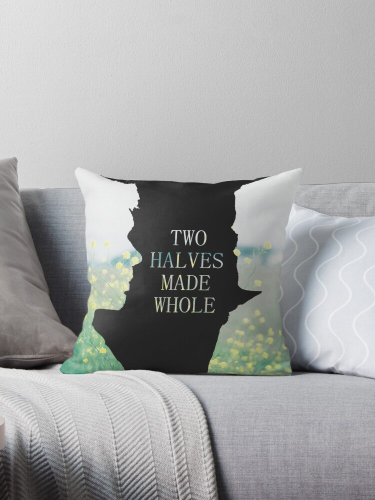 Two Halves Made Whole pillow by SevLovesLily