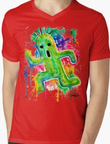 Cute Cactuar - Running Watercolor - Final fantasy - Jonny2may - Awesome!  Mens V-Neck T-Shirt