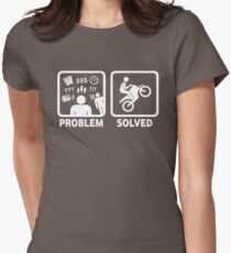 Problem Solved Motorbike T Shirt Womens Fitted T-Shirt