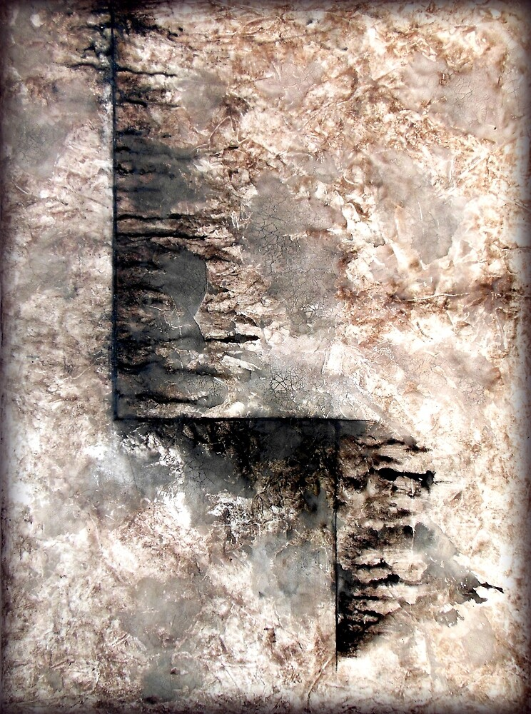 Grey and Black Textured Abstract Painting JOURNEY  by hollyanderson