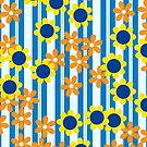 Summer Floral Stripes Blue Yellow Orange Flowers by Beverly Claire Kaiya