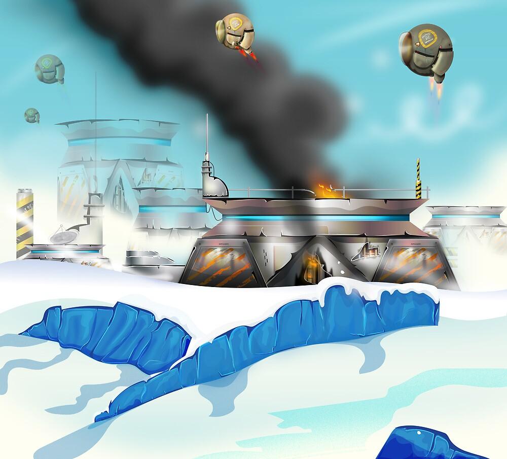 Ice planet Space battle. by Nicholas Greenaway
