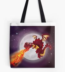 mythological dragon flying and breathing fire Tote Bag