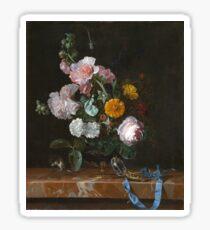 Willem Van Aelst - Vanitas Flower Still Life . Still life with flowers: still life with flowers, flowers, blossom, nature, botanical, floral flora, wonderful flower, plants, garden, vase Sticker