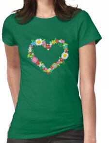Whimsical Spring Flowers Power Garden Womens Fitted T-Shirt