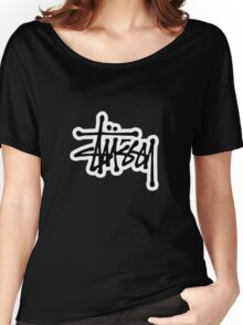 stussy #black Women's Relaxed Fit T-Shirt