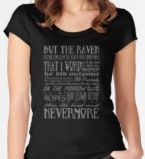 Edgar Allan Poe RAVEN typography Fitted Scoop T-Shirt