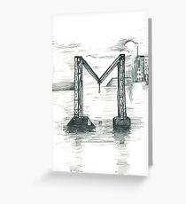 Broken Bridge = M Greeting Card