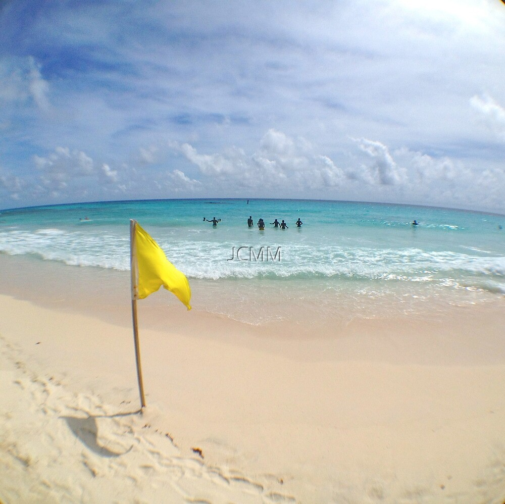 Yellow Flag, White sand, Barbados by JCMM