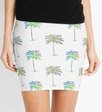 Coconut Palm Trees Colored Pencil Style Mini Skirt