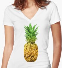 Low Polygon Pineapple Women's Fitted V-Neck T-Shirt