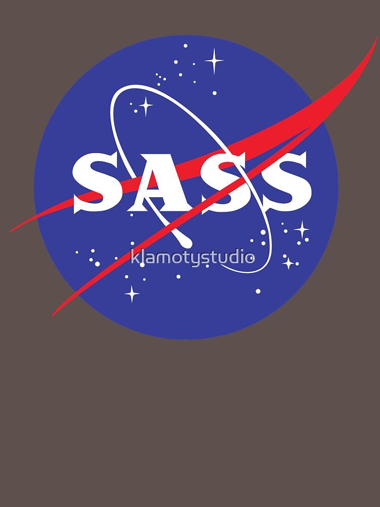 SASS - sassy, feminist, girl geek, nerdy, female scientist gift, nasa gift, astronaut gift, space, cosmos, galaxy by klamotystudio