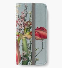 Red flowers iPhone Wallet