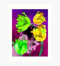 Man Young with Tulips Art Print