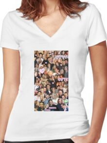 Gillian Anderson and David Duchovny collage Women's Fitted V-Neck T-Shirt
