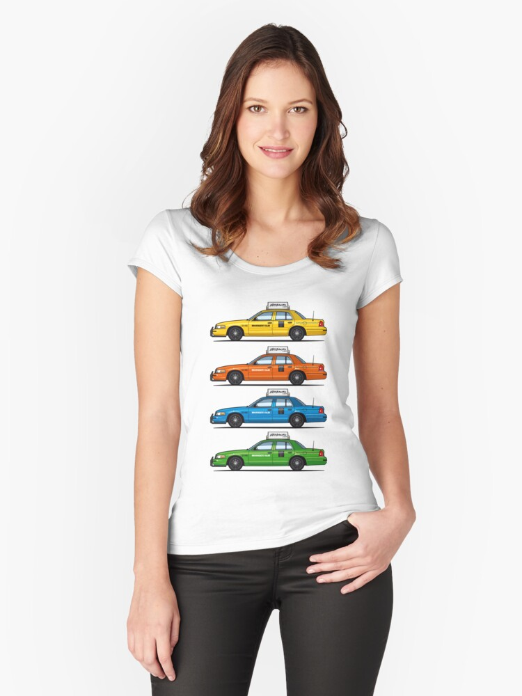 4 Color Crown Vic Cabs Women's Fitted Scoop T-Shirt Front