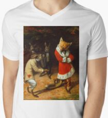 William Holbrook Beard - His Majesty Receives 1885. animals portrait: beasts, animals, foxes, hamster, Majesty, hares, costume, bathrobe, forest, trees, fantasy Men's V-Neck T-Shirt