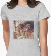 William Holman Hunt - Study Of A Bloodhound. Dog painting: cute dog, dogs, doggy, lucky, pets, wild life, animal, smile, little small, kids, nature Womens Fitted T-Shirt