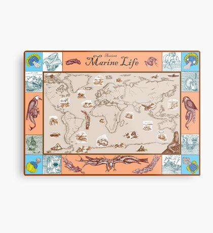 Ancient Marine Life map Metal Print