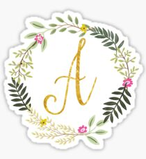 Floral and Gold Initial Monogram A Sticker