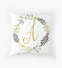 Floral and Gold Initial Monogram A Throw Pillow